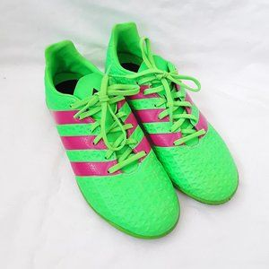 Adidas lime fuchsia lace up sports soccer cleats